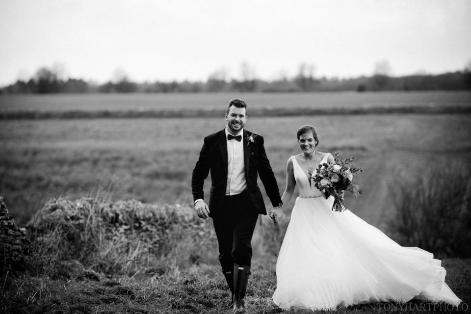 Rosie & Si braved the elements at Stone Barn during their winter wedding