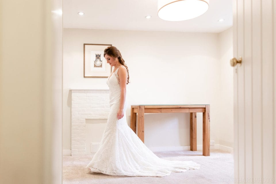 Farnham Castle Wedding - Lauren in her beautiful Caroline Castigliano dress