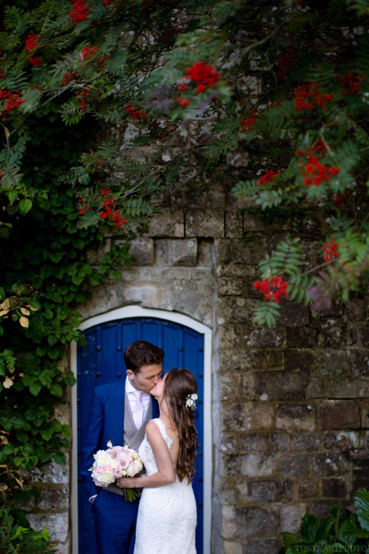 The famous blue door in the rose garden at Farnham Castle