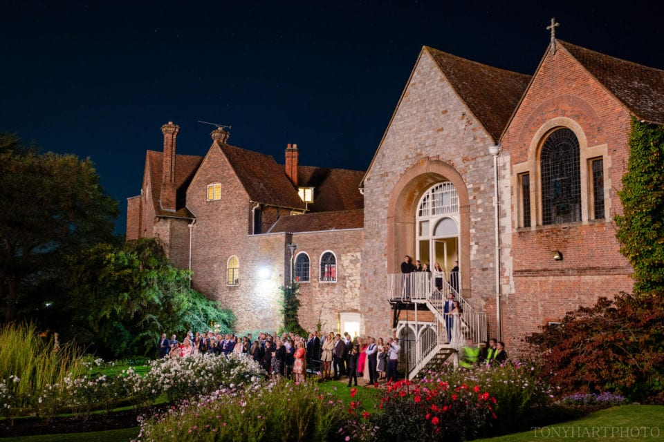 Guests watch the fireworks at Farnham Castle