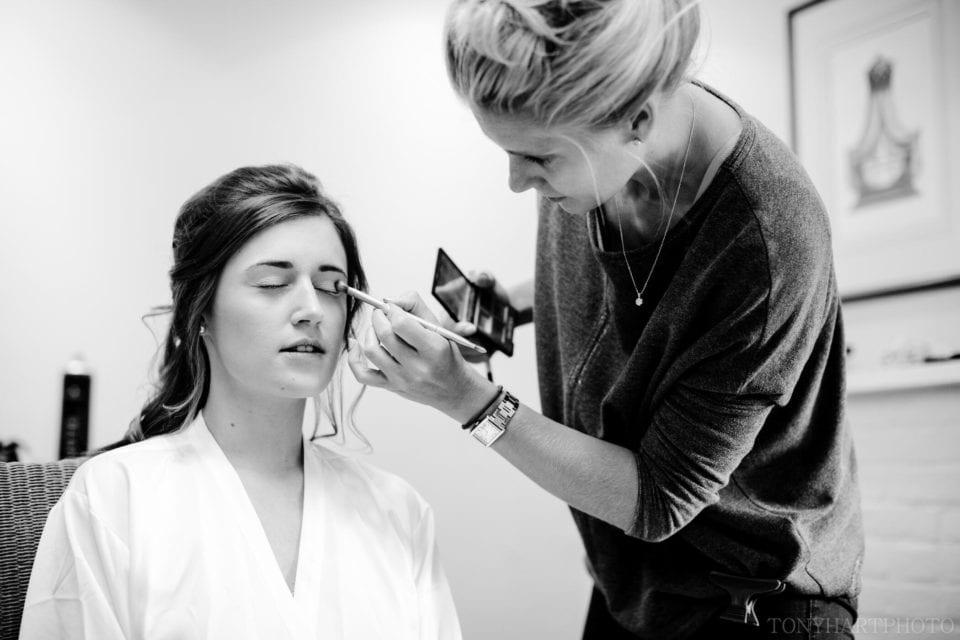 Lauren having her makeup done in the gatehouse at Farnham Castle