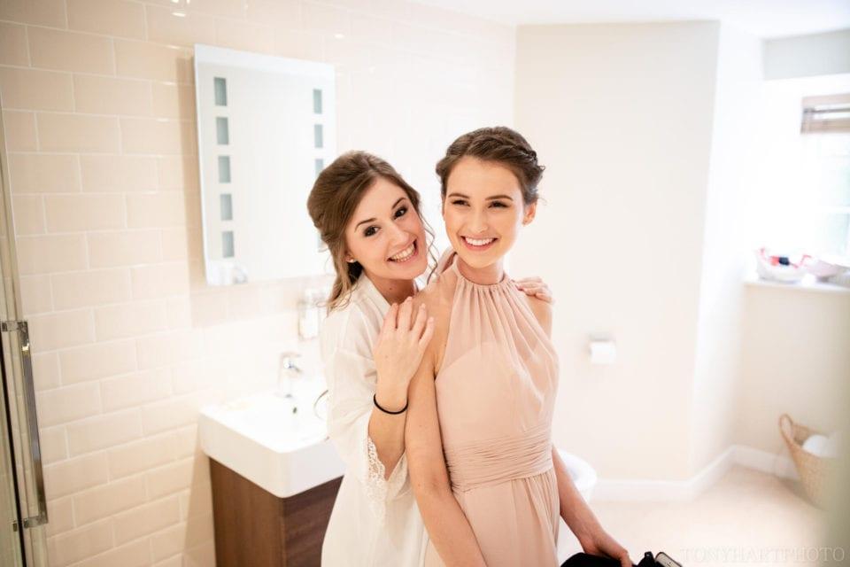 Bride & bridesmaid at Farnham Castle