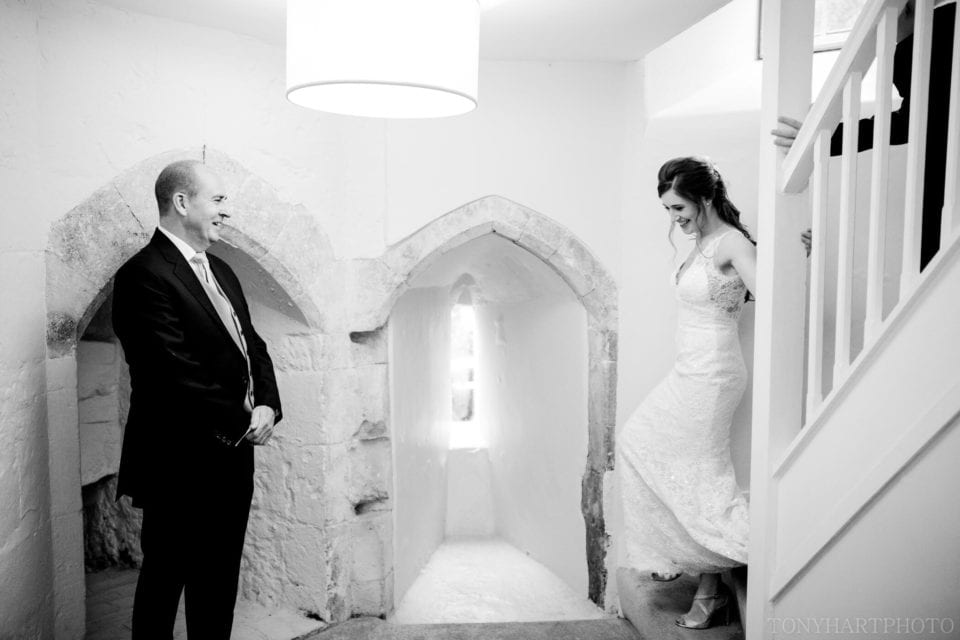 Lauren makes her way down the stairs of the Gatehouse to be greeted by her Dad