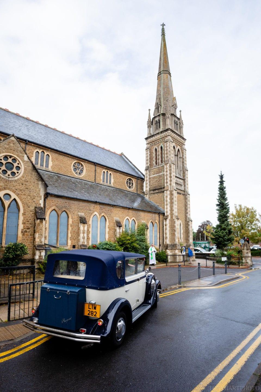 Bridal car arriving at Farnham URC