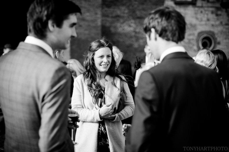 Wedding reception drinks in the sunshine at Farnham Castle