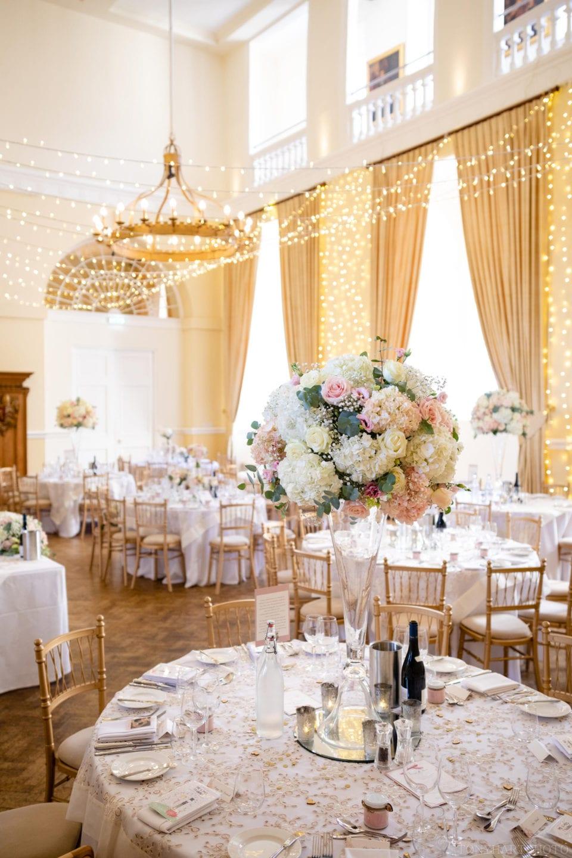 The Farnham Castle Great Hall ready for a wedding reception