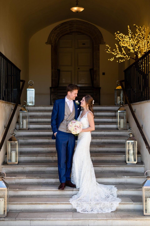 Wedding portrait on the Foxes' Steps at Farnham Castle