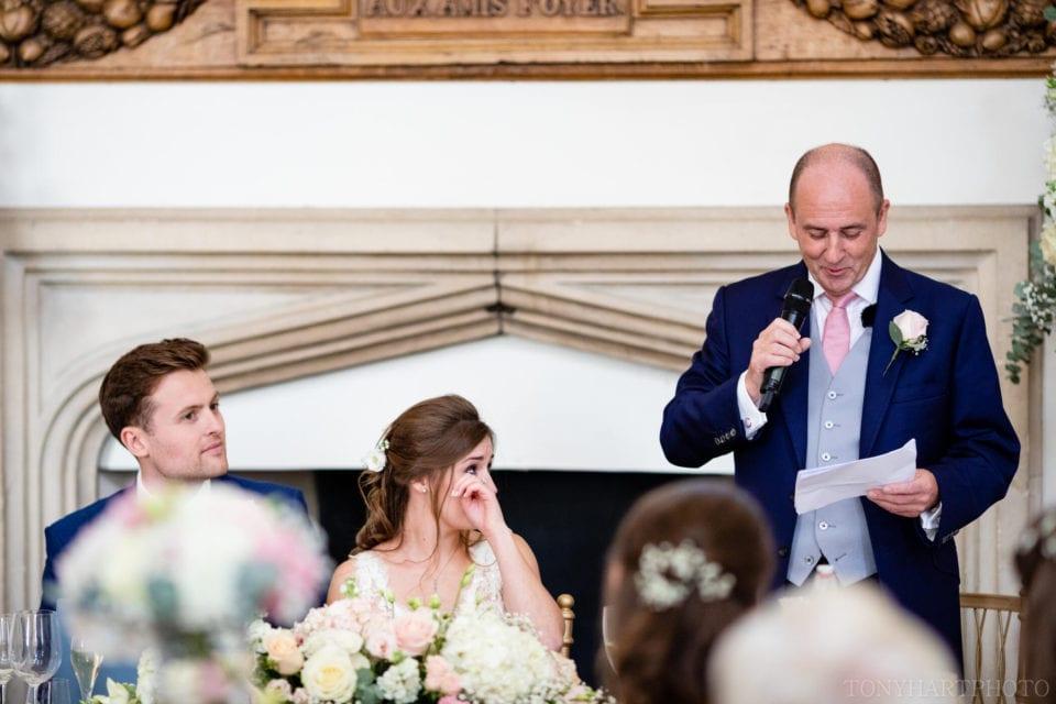 Wedding speech tears at Farnham Castle