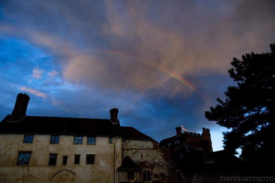 A rainbow over Farnham Castle