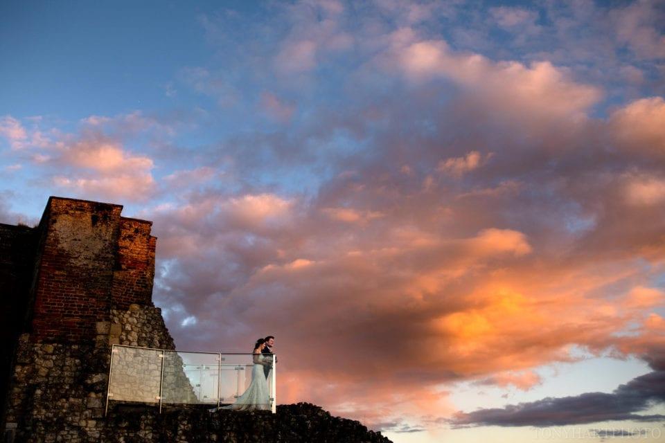 Incredible sunset during a Farnham Castle wedding