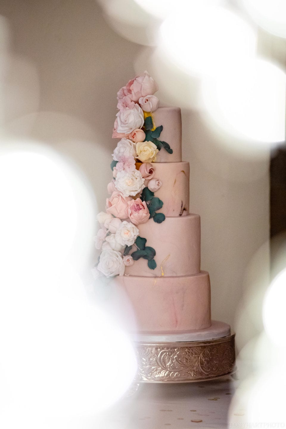 Wedding cake by Gifted Heart Cakes at Farnham Castle