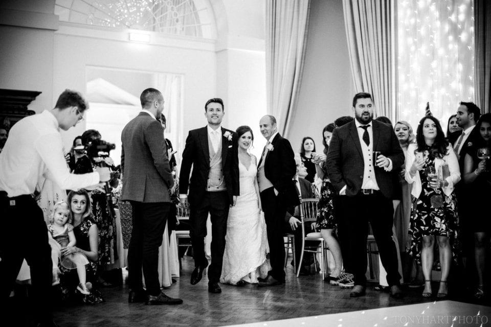 Lauren & Scott make their way onto the dancefloor during their Farnham Castle wedding