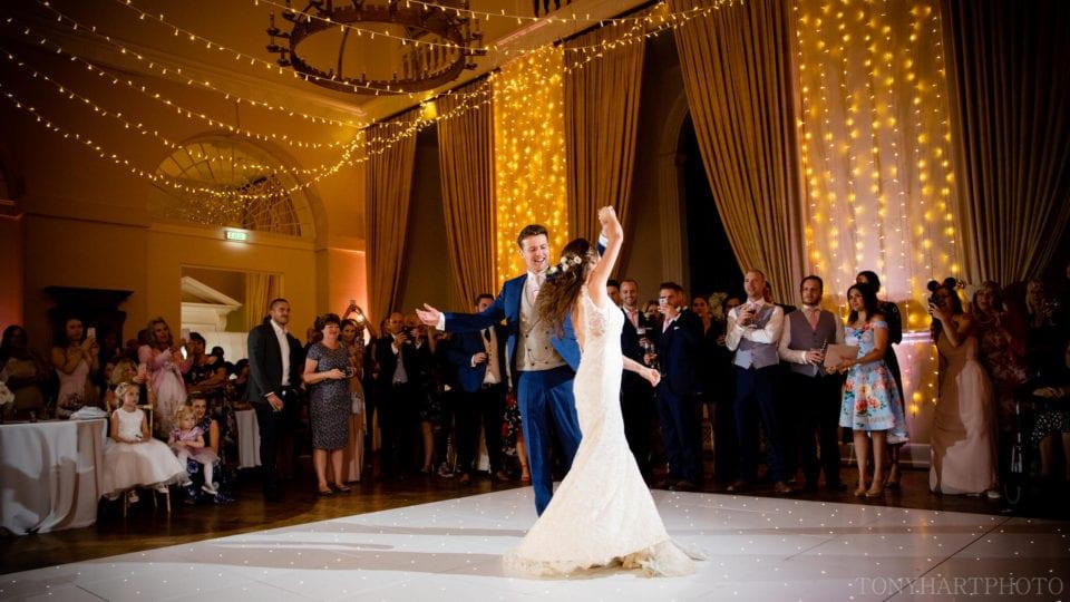Lauren & Scott on the dancefloor at Farnham Castle