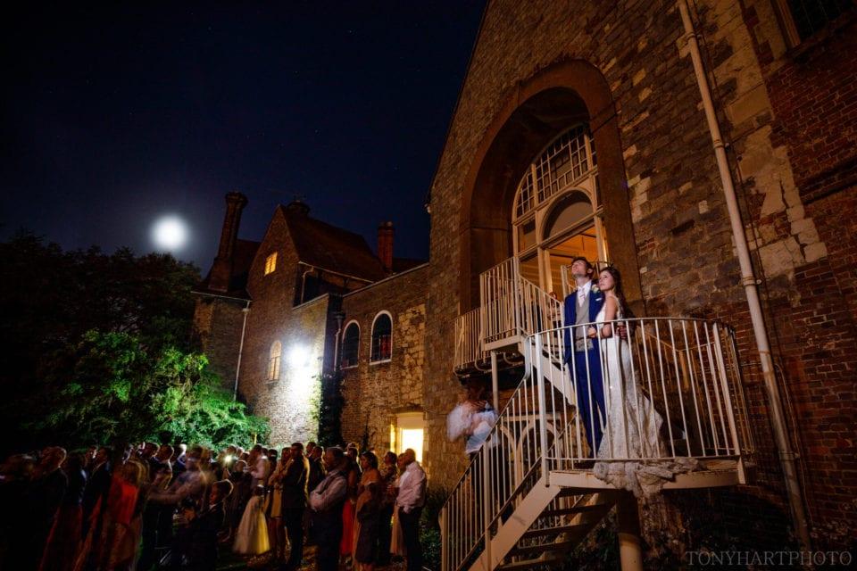 Scott & Lauren enjoy the fireworks during their Farnham Castle wedding