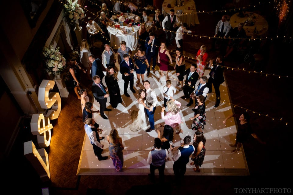 Overhead view of the dancefloor in the Great Hall at Farnham Castle
