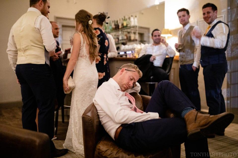 Steve asleep in the Tindle Bar at Farnham Castle.